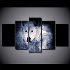 White Wolf in Dark Animals 5 piece HD Art Poster Wall Home Decor Canvas Print