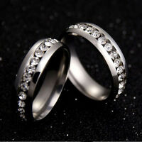 Sz4-15 CZ Couple Stainless Steel Wedding Ring Men/Women Titanium Engagement Band