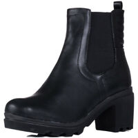 Womens Platform Block Heel Ankle Boots Shoes Sz 3-8