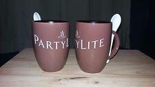 Partylite Set Of 2 Coffee/Tea Mugs w/stir spoons - Bnib