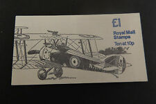 GB Folded Stamp Booklet FH2B 1980 Sopwith Camel & Vickers TOT VALUE IN SELV