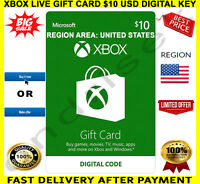 XBOX Live Gift Card $10 USD - XBOX ONE / XBOX 360 🔑 REGION USA ✅ FREE P&P 🎮