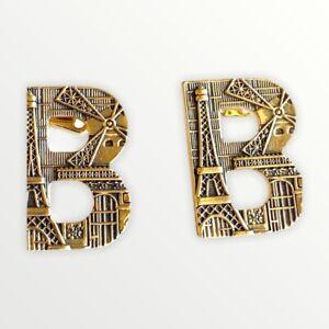 Balenciaga B Logo Gold Tone Pierced Earrings