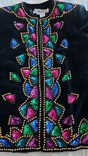 CARLISLE Black Velvet Sequin Beaded Jacket Women's 6. Looks new! Holiday