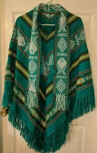 INCA  Aztec Teal Green Multi Color Poncho Fringe Pullover One Size