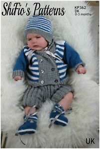 Knitting Pattern for Boys Cardigan, Shorts, Hat and Booties, 0 to 3 Months, D...