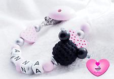 Schnullerkette mit Namen ♥ Minnie Schleife Maus Baby Mädchen • Herz rosa schwarz