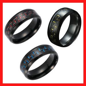 Men's Jewelry Titanium Steel Carbon Fiber Inlaid Center Band Ring Sizes 6-13