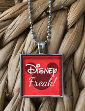 Disney Freak Lover World Mickey Ears Glass Pendant Silver Chain Necklace NEW