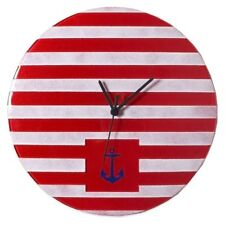 Handmade Veritas Round Glass Clock in Red & White Stripes with Blue Anchor