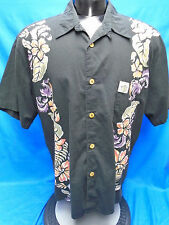 Duke Kahanamoku Black with Floral Hawaiian Shirt XL HTF