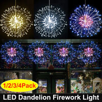 198 LED Hanging Lamp Starburst Fireworks Fairy String Light Xmas Party Decor