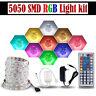 5M RGB 5050 Non Waterproof LED Strip light SMD 44 Key Remote 12V Adapter Power