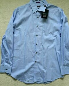 "Paul Smith LONDON LS blue patterned Shirt Size 17 / 43  SLIM fit  p2p 22.5"""
