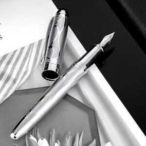 Hongdian Metal Silver Fountain Pen Renaissance 5010 Embossed Iridum EF/F Pen