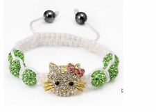 GREEN Beads Hello kitty Bangles Crystal Shamballa Bracelet for kids/adults NEW