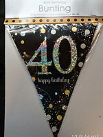 40th Birthday Pennant Flag Banner Black Silver Gold Party Decorations Age 40
