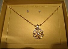 Charter Club Gold Tone Crystal Fleur de Lis Whirl Necklace & Earring Set NWT $27