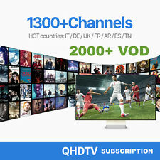 3 Months QHDTV Smart IPTV or Android TV Subscription 1300+ Channels 2000+ VOD