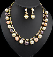 New Women Charm Pearl Diamonde Necklace Earring Set Party Jewelry Accessories UK