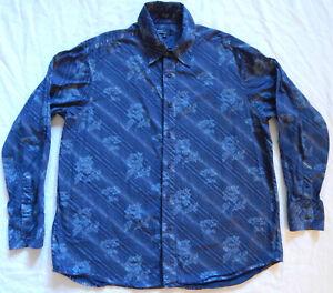 Floral Striped Long Sleeve Button Down Shirt - XL Mens Dark Blue Cotton