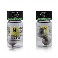 Nickel Metal Element 28 Ni 99,9 %> 12 Grams Balls in Vial Size-