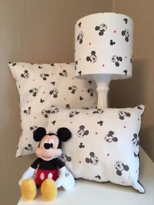 SHOP Mickey Mouse Heads Range of Curtains/Cushions/Lampshades in white