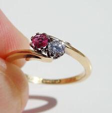 Stunning Vintage 9ct Gold Ruby & Diamond Two Stone Ring c1947; UK Size 'H 1/2'