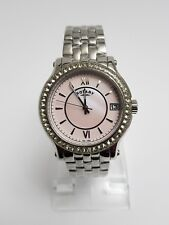 Rotary Ladies Stone Set Bezel Pink Mother of Pearl Dial Watch LB03030/07 ~SA15~