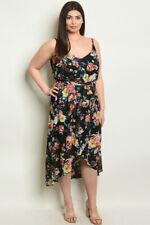 Womens Plus Size Black Floral High Low Maxi Dress 2XL Spaghetti Strap Sundress