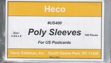 100 Poly Sleeves For US Postcards By HECO US400 New Protection Bags 3.75x6 Inch