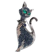 Nickel free. Beautiful silver diamanté crystal cat brooch