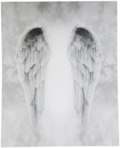 Angel Wings Canvas - Beautiful Glittery Monochrome Picture Elegant Wall Hanging
