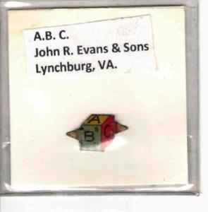 Tobacco Tag John R. Evans & Sons Lynchburg, VA.  A. B. C.