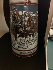 1989 Budweiser Collector's Series Christmas Beer Mug Stein