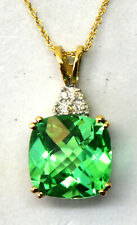 10K Solid Yellow White Gold, Synthetic Green Sapphire and Diamond Necklace