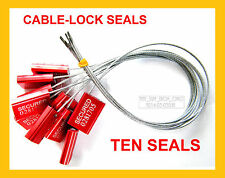 CABLE-LOCK SECURITY SEALS, CARGO / TANKER, BRIGHT-RED, ALL-METAL, TEN SEALS