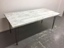 Industrial Reclaimed Timber Scaffold Board Table. On Vintage Hairpin Legs. White