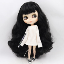 Long Black Curly Hair ICY Blythe doll white joint body 1/6 BJD 4 Changing Eyes