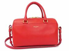 Authentic Saint Laurent Leather Baby Duffle Shoulder Hand Bag Red A1782