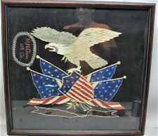 """Antique Japanese Painting on Silk of Patriotic American """"Coat of Arms"""" c. 1920"""