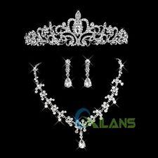 Fashion Charm Wedding Party Rhinestone Crown Tiara Necklace Earring Jewelry Sets
