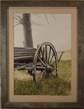"Les Linton Original Watercolor, ""Hay Wagon Wheel"", Farm Scene, BEAUTIFUL & NICE!"