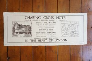 1948 Southern Railway Carriage Advertising Poster Charing Cross & Map Two Sided