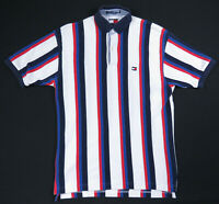 Vintage 90s Tommy Hilfiger Color Block Stripes Mens Short Sleeve Polo Shirt S OG