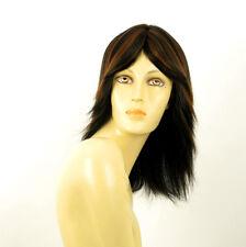 perruque femme 100% cheveux naturel mi-long méchée noir/cuivré DELPHINE 1b30