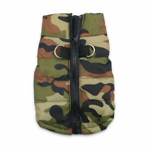 Dog Pet Waterproof Clothes Padded Coat Camouflage Warmer Winter Jacket Top Vest