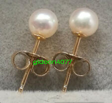 Small 4-5MM AAA+++ GRADE perfect ROUND WHITE AKOYA PEARLS EARRING 14K GOLD