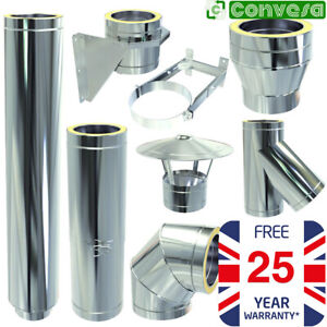 Twin Wall Flue Stove Kit Convesa Stainless Steel Pipe Bends Tees 5inch 125mm