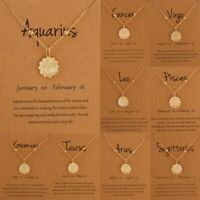 12 Constellation Zodiac Coin Card Pendant Necklace Women Choker Clavicle Chain